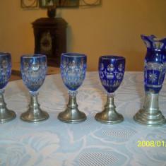 Set pahare si vaza monoflor argint si cristal albastru
