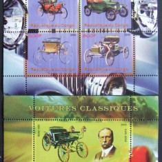 Colectii filatelie - CONGO 2009 - MASINI CLASICE, 1 M/SH SI 1 S/S NEOBLITERATE - PP 720