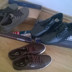 Tenesi pantofi incaltaminte sport Kangol Kula, marime 41 maro si negrii - Tenisi barbati Kangol, Culoare: Negru, Piele sintetica