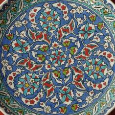 Arta Ceramica - Vechi Platou / Farfurie pictata manual - ceramica Altin Cini / Kutahia Turkiye