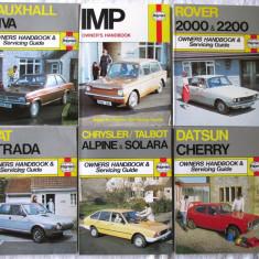 6 Manuale Haynes. ROVER 2000, IMP, DATSUN CHERRY, FIAT etc. Text in engleza. Noi - Carti auto
