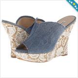 100% AUTENTIC - Saboti GUESS Benjy - Sandale Dama, Femei - Sandale Stil Blugi cu Dantela - Sandale Originale GUESS