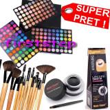 Trusa make up - Trusa machiaj paleta farduri profesionala MAC 180 culori + set 12 pensule make up Bobbi Brown + Cadou eyeliner tus gel ochi negru