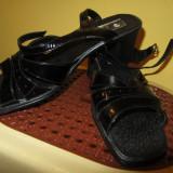 Sandale dama, Piele naturala - Sandale negre din piele lacuita