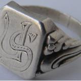 Inel vechi din argint cu monograma US - de colectie