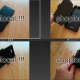 Husa Sony Xperia E3 flip carte toc neagra cu stand birou + FOLIE protectie - Husa Telefon Sony, Negru, Silicon