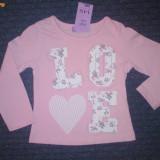 Haine Copii 1 - 3 ani, Bluze, Fete - Nou! Bluzita roz Love, marca FF kids, fetite 12-18 luni/ 86 cm