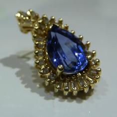 Cercei aur 14k cu sapphire si diamante