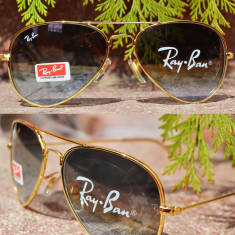 Ochelari de soare Ray Ban, Unisex, Maro, Pilot, Plastic - Ochelari RAY BAN de soare RAMA GOLD maro gradient