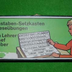 Joc educativ de invatat limba germana, Buchstaben - Setzkasten für Leseübungen von Lehrer Josef Weber, vechi, vintage, colectie, anii '40, educatie,