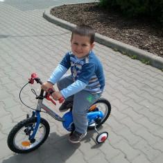 Bicicleta copii, 14 inch, 12 inch, 3-5 ani, Aluminiu, Albastru - Bicicleta Decathlon