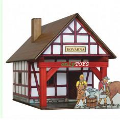 Set constructie casute traditionale din lemn FIERARIE POTCOVARIE case walachia - Jocuri Seturi constructie