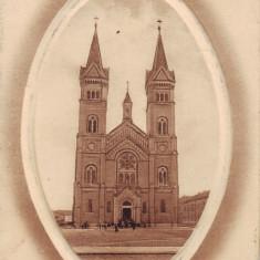 Romania, Timisoara carte postala embosata necirculata 1912: Biserica rom. cat., Fotografie