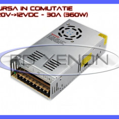Iluminat decorativ ZDM - SURSA ALIMENTARE - ALIMENTATOR IN COMUTATIE 220V-12V - 30A AMPERI A 360W