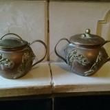 Metal/Fonta, Vase - CEAINIC VECHI SI BOL DE ZAHARNITA DIN CUPRU CU APLICATI MOTIV FLORAR DIN ALAMA