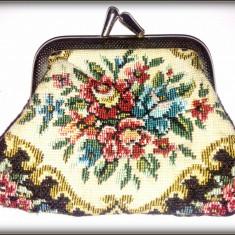 Portmoneu vintage din material tesut pentru maruntis - Portofel Dama, Culoare: Din imagine, Pentru monezi