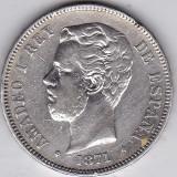Spania 5 pesetas 1871 argint 24,82 gr 900/1000 CEL MAI MIC PRET