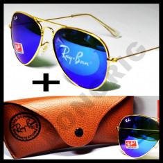 Ochelari de soare Ray Ban, Unisex, Albastru, Pilot, Metal, Fara protectie