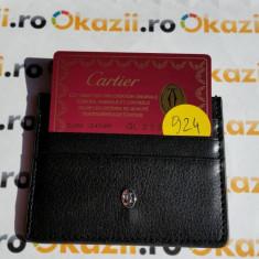 Port carduri de credit CARTIER cod 924 - Portofel Barbati Cartier, Negru, Mini-portofel