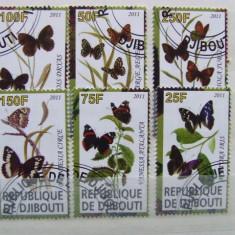 Djibouti, fauna, fluturi, serie stampilata
