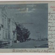SALUTARI DIN SULINA PALATUL ADMINISTRATO GRADINA PALATULUI PORTUL CIRC.MAI'901 - Carte Postala Dobrogea pana la 1904, Circulata, Printata