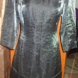 NOU Rochie MANGO argintie de ocazie scurta cu maneca 3/4 si fermoar XL - Rochie cocktail Zara, Culoare: Argintiu