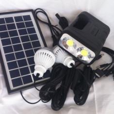 Panouri solare - Kit solar fotovoltaic 2 becuri, lanterna 2x3w COB incarcare telefon GDLITE 8037