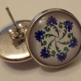 Cercei surub/fluture/cheita baza argintie cu cabochon cusaturi unguresti
