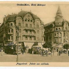 1986 - ORADEA, Metropol Hotel, tramway, carts - old postcard - unused - 1917 - Carte Postala Crisana 1904-1918, Necirculata, Printata