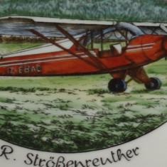 Farfurie portelan - scoala de aviatie Fliegerschule - Flugbetrieb Strößenreuther