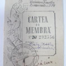 CARTEA DE MEMBRA - UNIUNEA FEMEILOR DEMOCRATE DIN RPR - 1952 - Diploma/Certificat