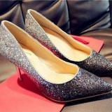 CH2312-6 Pantofi eleganti cu varf ascutit si insertii argintii - Pantofi dama