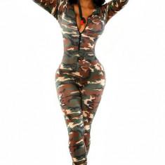 Salopeta dama - E373-120 Salopeta lunga sexy cu model Army