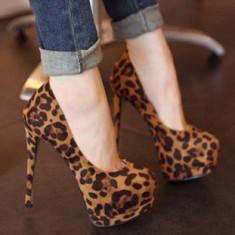Pantofi dama - CH2306-99 Pantofi cu platforma, toc inalt si model animal print