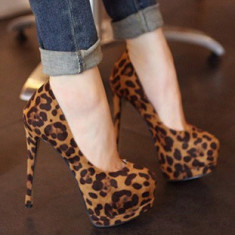 CH2306-99 Pantofi cu platforma, toc inalt si model animal print - Pantofi dama
