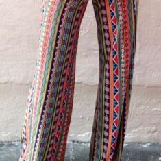 CL435 Pantaloni largi de vara cu print colorat abstract model pallazo - Pantaloni dama, Marime: S/M