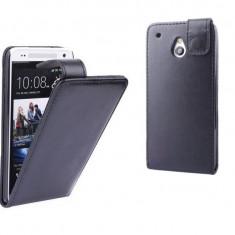 Husa piele eco HTC ONE MINI M4, flip cover cu clapeta, inchidere magnetica, NEGRU, Piele Ecologica