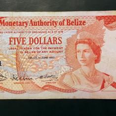 Belize 5 Dollars 1980 P#39 - bancnota america