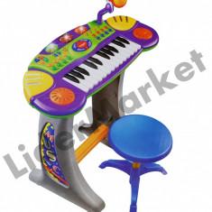 Instrumente muzicale copii - Orga electronica cu scaunel si microfon pentru copii BB33-B