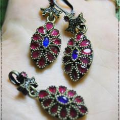 Set superb, masiv model turcesc cu safire si rubine argint 925 safire si rubine - Set bijuterii argint