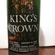 RARE sticla king's crown, de luxe, finest scotch whisky, cl.75 gr. 43, ani 60