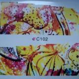 Tatuaj transfer pe baza de apa sticker pentru decorare unghii Full Tip C 102 - Unghii modele