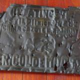 Metal/Fonta - Indicator din tabla / protectia muncii - pericol de moarte - vintage !