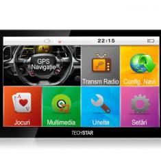 "GPS Auto 7"" TECHSTAR Premium NAVIGATIE Auto Taxi Tir Camion IGO Full EU+RO 12GB"