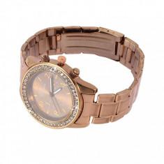 Ceas de Dama Geneva - Ceas dama auriu COFFEE GENEVA curea metalica cristale + cutie simpla cadou