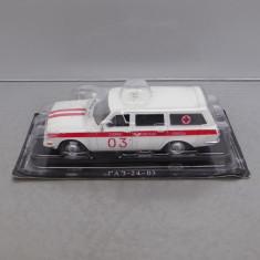 Macheta auto, 1:43 - GAZ 24-03 Volga Ambulanta, DeAgostini Rusia, 1/43