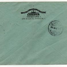 PLIC CU ANTET FABRIK INDUSTRIE TIMISOARA, GYARIPAR, CIRCULAT 1930