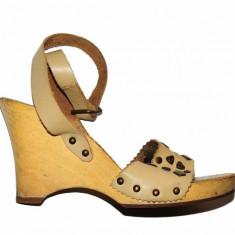 Sandale bej cu platforma Mango, piele, marime 38, calapod lat - Sandale dama