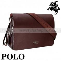 POLO STUDENT– geantă de umăr (orizontală) din piele - Geanta Barbati Polo Sport, Marime: Medie, Culoare: Negru, Geanta tip postas