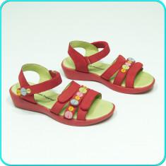 DE CALITATE _ Sandale din piele, FRUMOASE, aerisite, HUSH PUPPIES _ fete | nr 33 - Sandale copii, Culoare: Rosu, Piele naturala